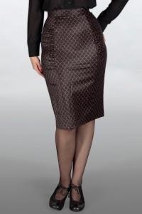 jupe-crayon Emmy en bengaline noire motif écailles en fil or métalisé
