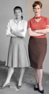 Joan (à droite) en sweater et jupe-crayon : la secrétaire façon Mad Men