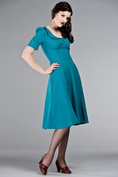 1b21fadb6feb Robes retro chic inspiration vintage - - robe rétro emmy bleu turquoise