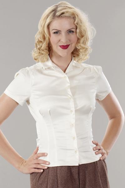 hauts femme r tro chic vintage style blouse satin blanc cr me emmy r tro vintage style. Black Bedroom Furniture Sets. Home Design Ideas