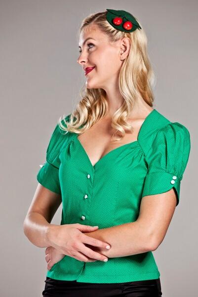 qualité et quantité assurées sans précédent beau lustre Hauts femme rétro chic vintage style - - chemisier chic vert ...