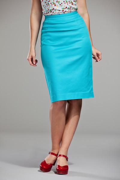 a099686f38a7 Jupes chics ou rétro vintage pin-up - - Jupe droite turquoise