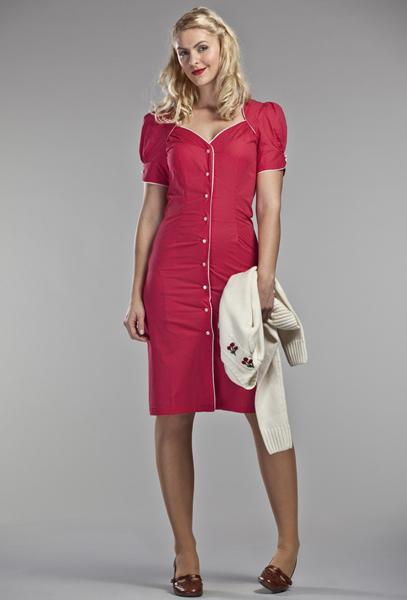 6c3e2cc27bb7 Robes retro chic inspiration vintage - - robe Emmy de jour rouge à ...